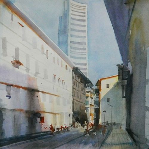 white building, 16 x 11 inch, bijay  biswaal,cityscape paintings,paintings for living room,paper,watercolor,16x11inch,GAL011743275