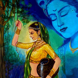 lord radha and krishna, 8 x 10 inch, ashwinikumar nagarkar,8x10inch,hardboard,paintings,figurative paintings,religious paintings,portrait paintings,art deco paintings,radha krishna paintings,love paintings,paintings for dining room,paintings for living room,paintings for bedroom,paintings for office,paintings for hotel,paintings for school,paintings for hospital,acrylic color,paper,GAL02087432752