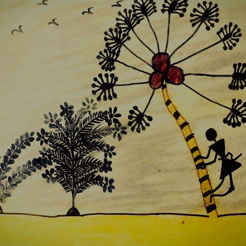 warli artwork , 35 x 35 inch, sarmistha nanda,35x35inch,drawing paper,drawings,conceptual drawings,paintings for dining room,paintings for living room,paintings for bedroom,paintings for office,paintings for bathroom,paintings for kids room,paintings for hotel,paintings for kitchen,paintings for school,paintings for hospital,pastel color,pencil color,paper,GAL02064632756