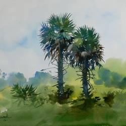 coconut trees, 16 x 11 inch, bijay  biswaal,cityscape paintings,nature paintings,paintings for living room,paper,watercolor,16x11inch,GAL011743276Nature,environment,Beauty,scenery,greenery
