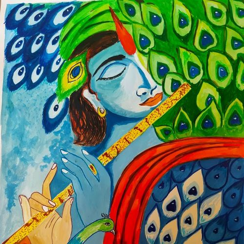 the divine music, 14 x 10 inch, vishnu jyoti,14x10inch,drawing paper,paintings,religious paintings,paintings for living room,poster color,GAL01951832762