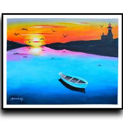 sunset 1, 30 x 23 inch, srinu badri,30x23inch,canvas,paintings,nature paintings | scenery paintings,paintings for dining room,paintings for living room,paintings for bedroom,paintings for office,paintings for kids room,paintings for hotel,acrylic color,GAL01289932767