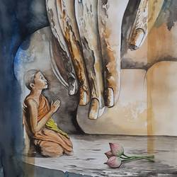 beauty of buddha , 11 x 16 inch, amit banerjee,11x16inch,brustro watercolor paper,paintings,buddha paintings,paintings for dining room,paintings for living room,paintings for bedroom,paintings for office,paintings for hotel,paintings for school,watercolor,paper,GAL0848132768
