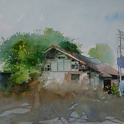 old houde, 16 x 11 inch, bijay  biswaal,cityscape paintings,paintings for living room,paper,watercolor,16x11inch,GAL011743277
