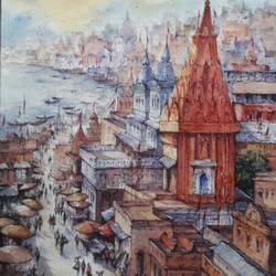 top view of benaras-1, 15 x 22 inch, shubhashis mandal,15x22inch,handmade paper,paintings,religious paintings,paintings for dining room,paintings for living room,paintings for bedroom,paintings for office,paintings for hotel,watercolor,GAL02057432775