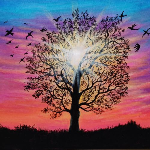 sunset sky tree acrylic painting on canvas, 14 x 11 inch, mrinalini shingal,14x11inch,canvas,paintings,landscape paintings,nature paintings | scenery paintings,realism paintings,contemporary paintings,paintings for dining room,paintings for living room,paintings for bedroom,paintings for office,paintings for hotel,acrylic color,GAL01898332778