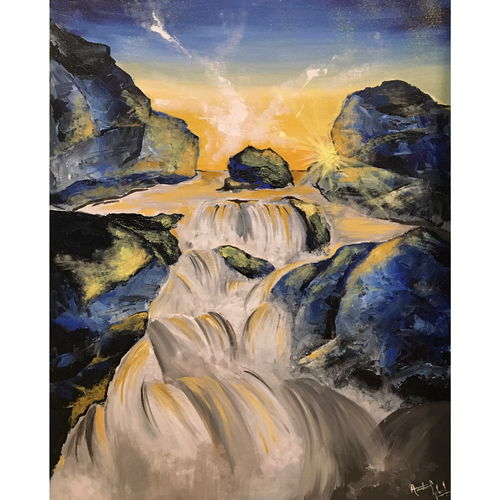 waterfall in rocks, 24 x 30 inch, aashiya iqbal,24x30inch,canvas,paintings,landscape paintings,conceptual paintings,still life paintings,portrait paintings,nature paintings | scenery paintings,art deco paintings,expressionism paintings,photorealism paintings,photorealism,portraiture,realism paintings,water fountain paintings,paintings for dining room,paintings for living room,paintings for bedroom,paintings for office,paintings for bathroom,paintings for kids room,paintings for hotel,paintings for kitchen,paintings for school,paintings for hospital,acrylic color,GAL01335032780