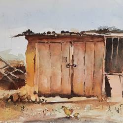 there was a shop, 14 x 11 inch, vivek anand,14x11inch,canson paper,paintings,landscape paintings,watercolor,GAL0366032782