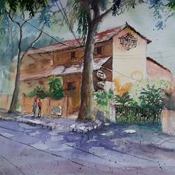 dyu art cafe, 15 x 11 inch, vivek anand,15x11inch,canson paper,cityscape paintings,watercolor,GAL0366032783