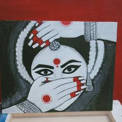 dancing face mudra, 8 x 10 inch, shambhavi mishra mishra,8x10inch,canvas board,paintings,figurative paintings,paintings for living room,paintings for bedroom,paintings for office,paintings for hotel,paintings for school,acrylic color,GAL01966832789