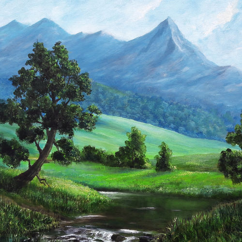 stream from the mountain, 24 x 18 inch, seby augustine,24x18inch,canvas,paintings,still life paintings,nature paintings   scenery paintings,realism paintings,contemporary paintings,paintings for dining room,paintings for living room,paintings for bedroom,paintings for office,paintings for kids room,paintings for hotel,paintings for kitchen,paintings for school,paintings for hospital,acrylic color,GAL015032791