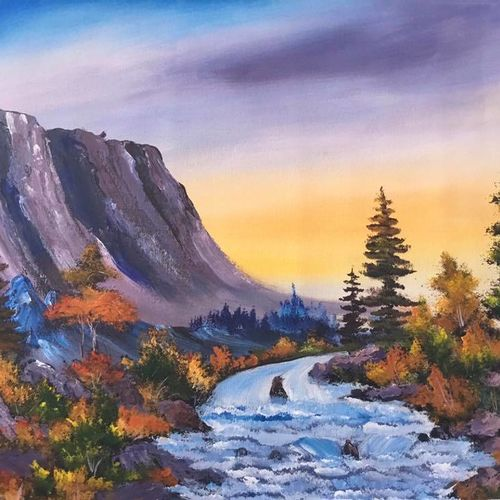 valley waterflow, 21 x 19 inch, shankhadeep  mondal,21x19inch,canvas,paintings,landscape paintings,nature paintings | scenery paintings,paintings for dining room,paintings for living room,paintings for bedroom,paintings for office,paintings for bathroom,paintings for kids room,paintings for hotel,paintings for kitchen,paintings for school,paintings for hospital,acrylic color,GAL01403032793