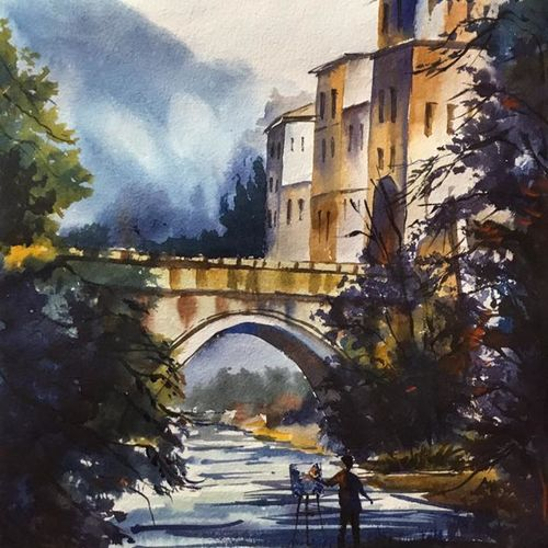 bridge, 11 x 15 inch, shankhadeep  mondal,11x15inch,handmade paper,paintings,cityscape paintings,landscape paintings,conceptual paintings,paintings for dining room,paintings for living room,paintings for bedroom,paintings for office,paintings for bathroom,paintings for kids room,paintings for hotel,paintings for kitchen,paintings for school,paintings for hospital,watercolor,GAL01403032798