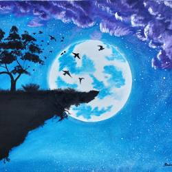 full moon 1, 28 x 23 inch, srinu badri,28x23inch,canvas,paintings,modern art paintings,nature paintings | scenery paintings,paintings for dining room,paintings for living room,paintings for bedroom,paintings for office,paintings for kids room,paintings for hotel,acrylic color,GAL01289932802