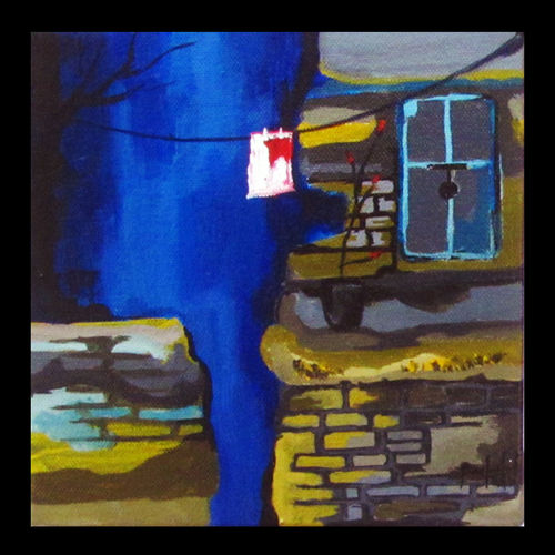 across the street, 7 x 7 inch, prashalee gaikwad,abstract paintings,paintings for bedroom,canvas,acrylic color,7x7inch,GAL012143281