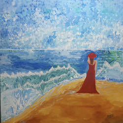 girl on beach, 36 x 36 inch, sheetal chaudhary,36x36inch,canvas,paintings,abstract paintings,landscape paintings,abstract expressionism paintings,paintings for dining room,paintings for living room,paintings for hotel,acrylic color,GAL01560332816