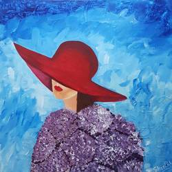 lady in red hat, 24 x 24 inch, sheetal chaudhary,24x24inch,canvas,paintings,abstract paintings,figurative paintings,paintings for dining room,paintings for living room,paintings for bedroom,paintings for office,paintings for hotel,acrylic color,GAL01560332818