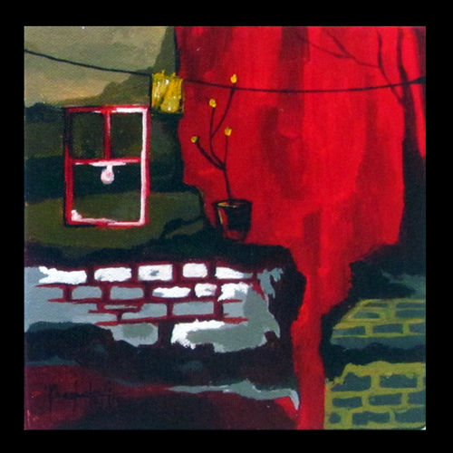 across the street 2, 7 x 7 inch, prashalee gaikwad,abstract paintings,paintings for bedroom,canvas,acrylic color,7x7inch,GAL012143282