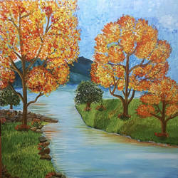 landscape, 36 x 36 inch, sheetal chaudhary,36x36inch,canvas,paintings,landscape paintings,paintings for dining room,paintings for living room,paintings for bedroom,paintings for office,paintings for kids room,paintings for hotel,paintings for school,paintings for hospital,acrylic color,GAL01560332821