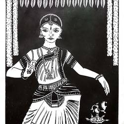 indian bharatha natyam dancer, 8 x 12 inch, sailaja  balgeri,8x12inch,thick paper,paintings for living room,paintings for office,paintings for kids room,paintings for hotel,fine art drawings,paintings for living room,paintings for office,paintings for kids room,paintings for hotel,pen color,GAL01586232827