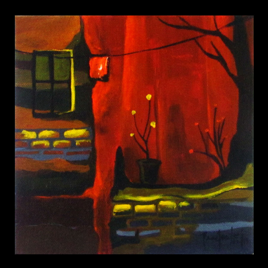 across the street 3, 7 x 7 inch, prashalee gaikwad,abstract paintings,paintings for bedroom,canvas,acrylic color,7x7inch,GAL012143283