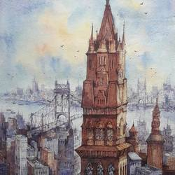 top view city-3, 15 x 22 inch, shubhashis mandal,15x22inch,handmade paper,paintings,cityscape paintings,paintings for dining room,paintings for living room,paintings for bedroom,paintings for office,paintings for hotel,watercolor,GAL02057432832