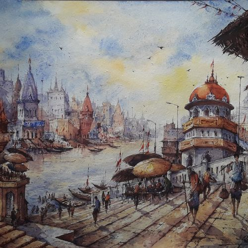 benaras ghats series-1, 22 x 15 inch, shubhashis mandal,22x15inch,handmade paper,paintings,landscape paintings,paintings for dining room,paintings for living room,paintings for bedroom,paintings for office,paintings for hotel,watercolor,GAL02057432833