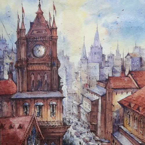 top view city-2, 15 x 22 inch, shubhashis mandal,15x22inch,handmade paper,cityscape paintings,paintings for dining room,paintings for living room,paintings for bedroom,paintings for office,paintings for hotel,paintings for dining room,paintings for living room,paintings for bedroom,paintings for office,paintings for hotel,watercolor,GAL02057432835