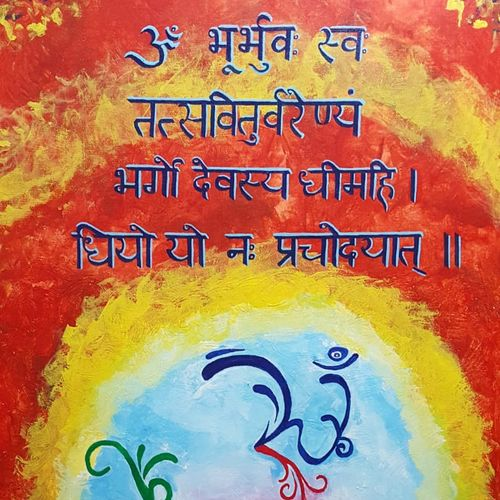 gayatri mantra , 24 x 36 inch, sheetal chaudhary,24x36inch,canvas,paintings,abstract paintings,abstract expressionism paintings,paintings for dining room,paintings for living room,paintings for bedroom,paintings for office,paintings for kids room,paintings for hotel,paintings for kitchen,paintings for school,paintings for hospital,acrylic color,GAL01560332845