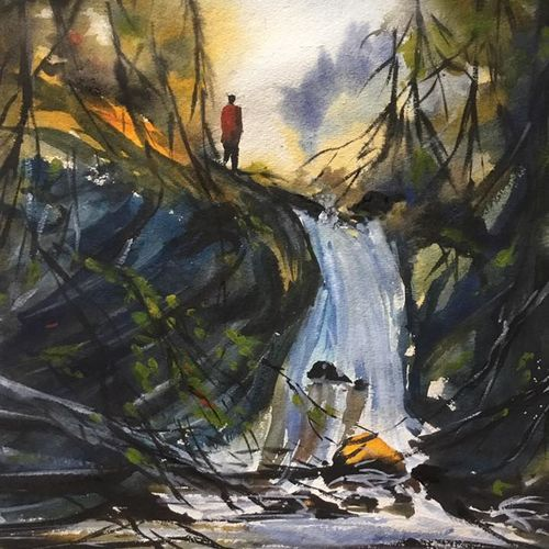 waterfall, 11 x 15 inch, shankhadeep  mondal,11x15inch,handmade paper,paintings,abstract paintings,landscape paintings,nature paintings | scenery paintings,impressionist paintings,paintings for dining room,paintings for living room,paintings for bedroom,paintings for office,paintings for bathroom,paintings for kids room,paintings for hotel,paintings for kitchen,paintings for school,paintings for hospital,watercolor,GAL01403032849