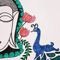 peace, 8 x 12 inch, sowmya boddapaty,8x12inch,ivory sheet,drawings,buddha drawings,ink color,GAL02104132854