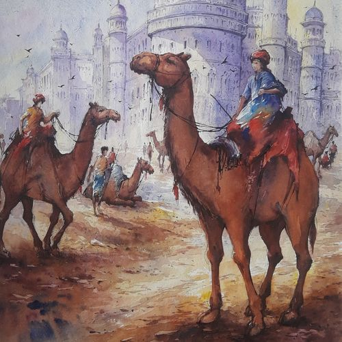 the beauty of rajasthan-1, 15 x 22 inch, shubhashis mandal,15x22inch,handmade paper,paintings,landscape paintings,paintings for dining room,paintings for living room,paintings for bedroom,paintings for office,paintings for hotel,watercolor,GAL02057432860