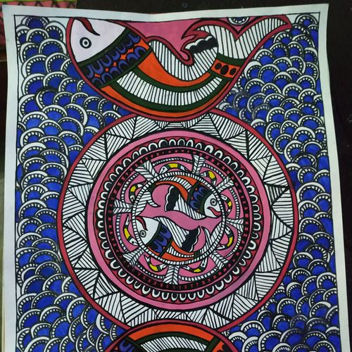 madhubani fish, 12 x 10 inch, rayana saha,12x10inch,drawing paper,paintings,madhubani paintings | madhubani art,paintings for dining room,paintings for living room,paintings for hotel,mixed media,GAL01304632861