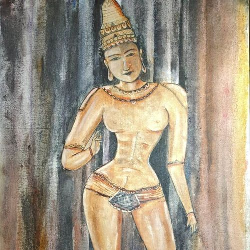 sculptures of ancient india, 38 x 55 inch, kartika ravi,38x55inch,canvas board,paintings,figurative paintings,folk art paintings,paintings for dining room,paintings for living room,paintings for bedroom,paintings for hotel,paintings for dining room,paintings for living room,paintings for bedroom,paintings for hotel,oil color,GAL02101732864