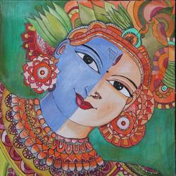 shiva & shakti, 16 x 19 inch, kartika ravi,16x19inch,canvas board,paintings,abstract paintings,lord shiva paintings,kerala murals painting,acrylic color,GAL02101732867