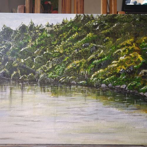 nature & reflections, 38 x 55 inch, kartika ravi,38x55inch,canvas board,paintings,nature paintings | scenery paintings,paintings for dining room,paintings for bedroom,paintings for office,paintings for hotel,paintings for dining room,paintings for bedroom,paintings for office,paintings for hotel,acrylic color,GAL02101732868