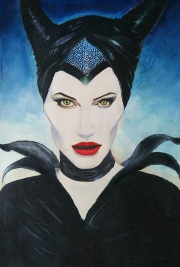 maleficent- angelina jolie , 12 x 16 inch, nikhil kamble,portrait paintings,paintings for living room,drawing paper,oil,12x16inch,GAL012123287