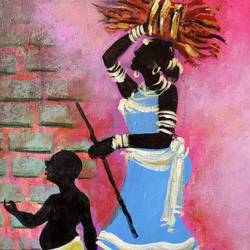 indian mother and child , 12 x 18 inch, sarita  acharya,12x18inch,canvas,folk art paintings,acrylic color,GAL02102232873