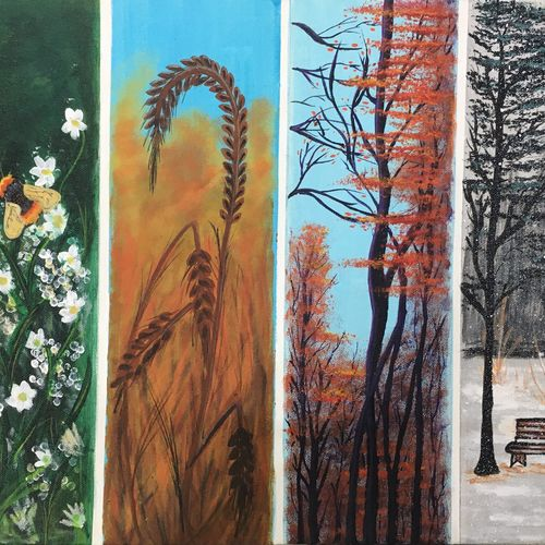 4 seasons , 12 x 16 inch, lisa serene,12x16inch,canvas board,paintings,landscape paintings,nature paintings | scenery paintings,paintings for dining room,paintings for living room,paintings for bedroom,paintings for office,paintings for bathroom,paintings for kids room,paintings for hotel,paintings for school,paintings for hospital,acrylic color,GAL01951232877