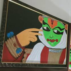 beautiful kathakali face, 18 x 24 inch, shambhavi mishra mishra,18x24inch,canvas board,paintings,folk art paintings,paintings for living room,paintings for office,paintings for school,acrylic color,GAL01966832884