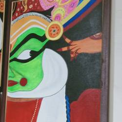 kathakali face, 18 x 24 inch, shambhavi mishra mishra,18x24inch,canvas board,paintings,folk art paintings,paintings for living room,paintings for office,paintings for school,acrylic color,GAL01966832886