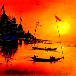 varanasi ghat - 12, 14 x 11 inch, girish chandra vidyaratna,landscape paintings,paintings for bedroom,ivory sheet,acrylic color,14x11inch,GAL0363289