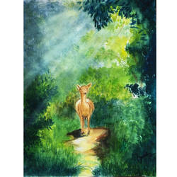 a walk with nature, 9 x 11 inch, susree roy,9x11inch,handmade paper,wildlife paintings,nature paintings | scenery paintings,animal paintings,watercolor,GAL02111732899