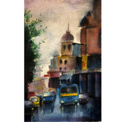 city of joy, 9 x 11 inch, susree roy,9x11inch,handmade paper,paintings,cityscape paintings,landscape paintings,paintings for dining room,paintings for living room,paintings for office,paintings for hotel,paintings for school,paintings for hospital,watercolor,GAL02111732900