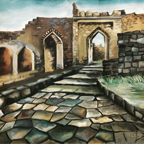 old fort , 12 x 17 inch, susree roy,12x17inch,canvas,paintings,cityscape paintings,landscape paintings,nature paintings | scenery paintings,paintings for dining room,paintings for living room,paintings for bedroom,paintings for office,paintings for hotel,paintings for school,oil color,GAL02111732902