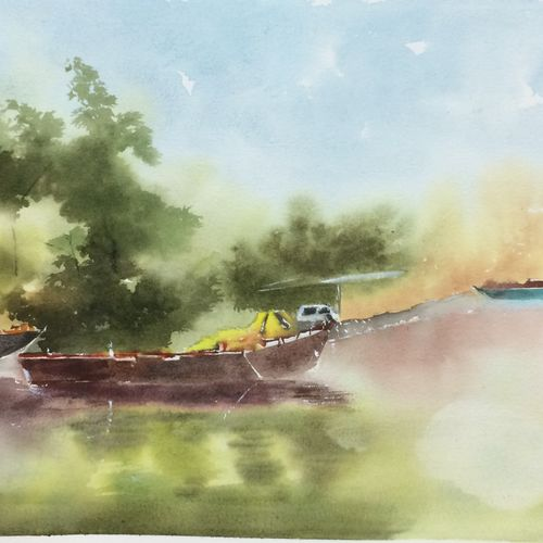 original watercolour painting , a unique gift for all occassion, 21 x 13 inch, dipankar  biswas,21x13inch,handmade paper,paintings,landscape paintings,nature paintings | scenery paintings,impressionist paintings,minimalist paintings,paintings for dining room,paintings for living room,paintings for bedroom,paintings for office,paintings for hotel,watercolor,paper,GAL0293232906