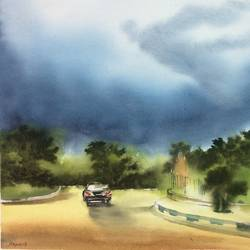 original watercolour painting, 21 x 13 inch, dipankar  biswas,21x13inch,handmade paper,paintings,cityscape paintings,landscape paintings,nature paintings | scenery paintings,impressionist paintings,minimalist paintings,paintings for dining room,paintings for living room,paintings for bedroom,paintings for office,paintings for hotel,watercolor,paper,GAL0293232907