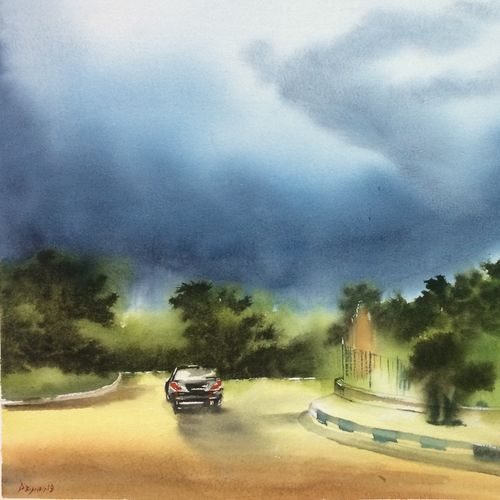 original watercolour painting, 21 x 13 inch, dipankar  biswas,21x13inch,handmade paper,paintings,cityscape paintings,landscape paintings,nature paintings   scenery paintings,impressionist paintings,minimalist paintings,paintings for dining room,paintings for living room,paintings for bedroom,paintings for office,paintings for hotel,watercolor,paper,GAL0293232907