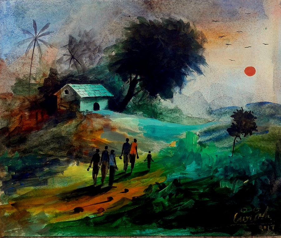 landscape 2017, 11 x 14 inch, girish chandra vidyaratna,landscape paintings,paintings for bedroom,ivory sheet,acrylic color,11x14inch,GAL0363291