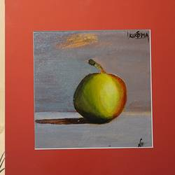 apple in my garden , 6 x 6 inch, neha  gupta,6x6inch,canvas,paintings,modern art paintings,still life paintings,nature paintings | scenery paintings,paintings for dining room,paintings for hotel,paintings for kitchen,acrylic color,GAL02043232913